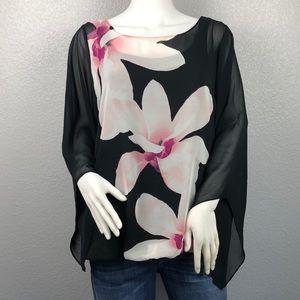 Alfani Pink Floral Sheer Overlay Top Size 1X & 3X